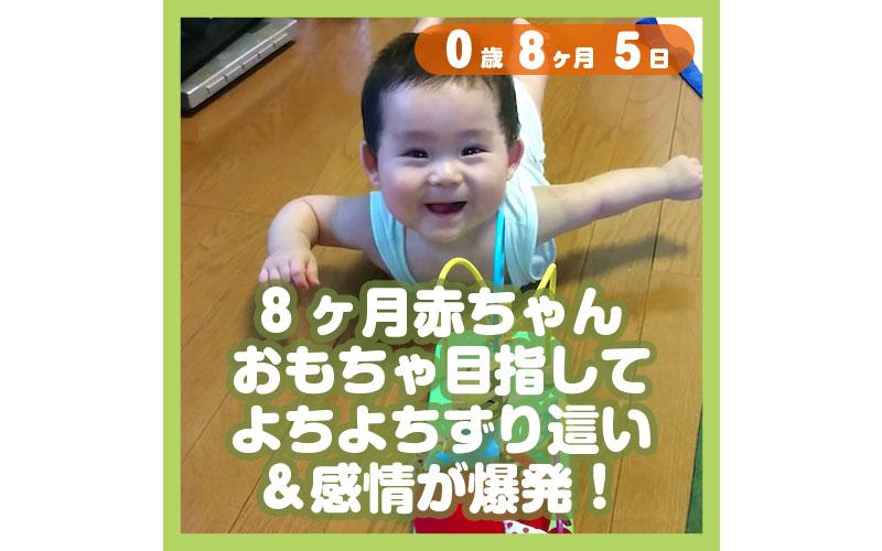 0-08-05_8ヶ月赤ちゃん、おもちゃ目指してよちよちずり這い&感情が爆発!_800