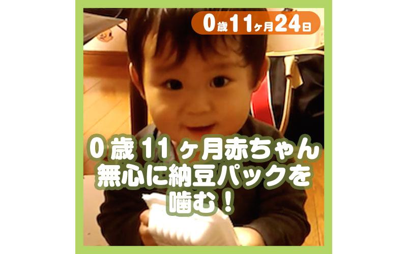 0-11-24_0歳11ヶ月赤ちゃん、無心に納豆パックを噛む!_800
